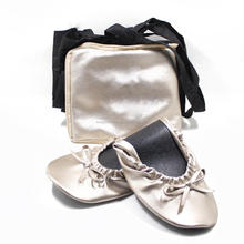 Women's Foldable Rescue Ballet Flat Shoes with Expandable Tote Bag to Carry Heels