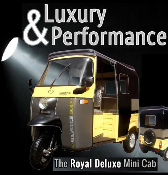 Sazgar Royal Deluxe Mini Cab 200cc Water Cooled Efficient Engine 4 Stroke Petrol/CNG Auto Rickshaw