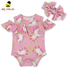 Kids boutique organic cotton romper printing pattern ruffle cold sleeve infant baby floral romper