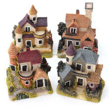Cute Mini Resin House Miniature House Fairy Garden Micro Landscape Home Garden Decoration Resin Crafts