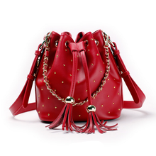 No minimum genuine leather handbag rivet bucket bag