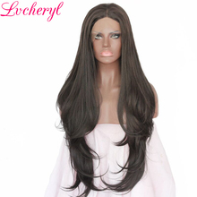Lvcheryl Black Natural Long Wavy Middle Parting Full Density High Temperature Fiber Hair Hand Tied Synthetic Lace Front Wigs