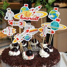 Rocket outer space China cake decorations birthday cake top toppers