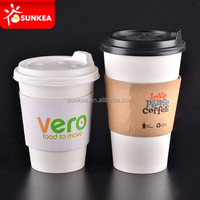 Hot sales white paper coffee cups and lids