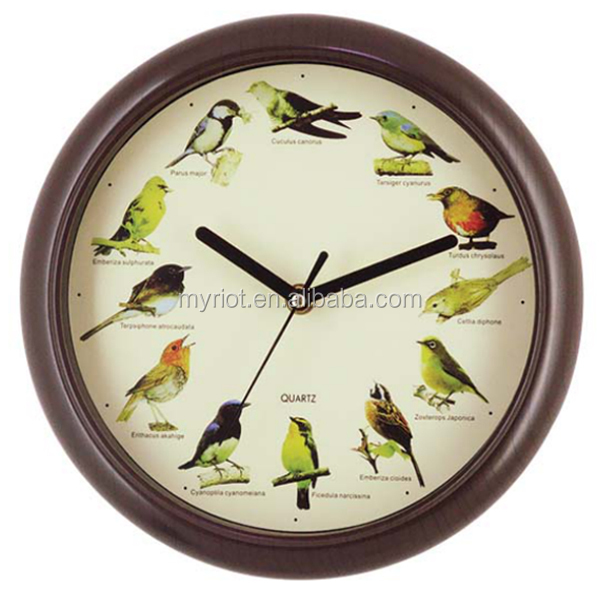 Plastic custom cheap wall clock with bird sound