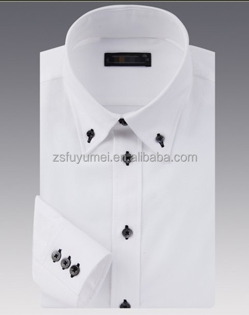 pure cotton white shirts for men's formal shirts with button down collar in 100% cotton fabric