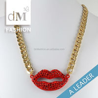 fashion design jewelry long chains red lip pendants necklace