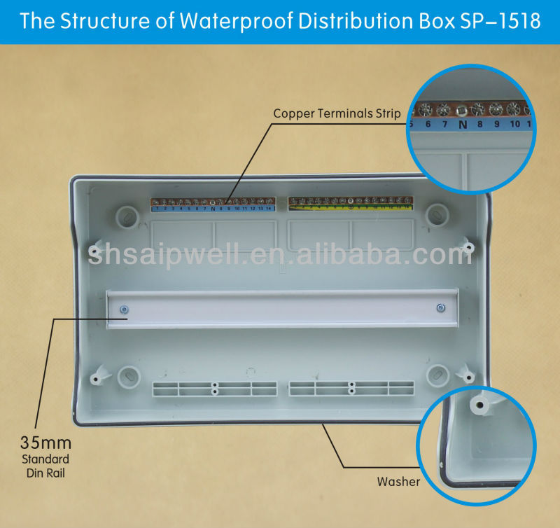 2014 high quality IP65 18 ways electrical power distribution box with CE,ROHS approval 381*230*110mm