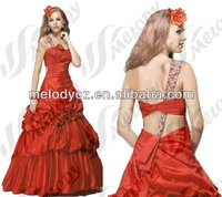 Special red ball gown full beaded strap weddings bridesmaid dresses with head flower