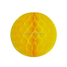yellow color handmade round tissue paper craft honeycomb ball decoration