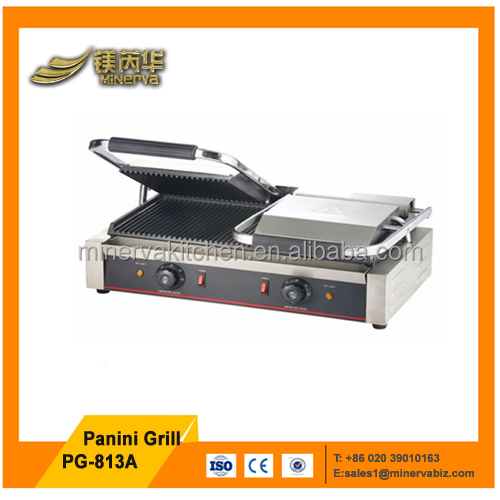 Fast food equipment commercial use double full ribbed top electric panini grill sandwich panini maker machine
