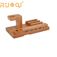 WOOD mobile phone 4 USB charging station for Phone /watch
