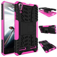2016 2 in 1 protective shockproof TPU PC dazzle hybrid rugged case for lenovo a6000 with foldable kickstand