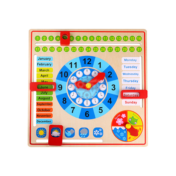 Cartoon cognitive weather calendar preschool kids hot sell baby natural wooden educational toys