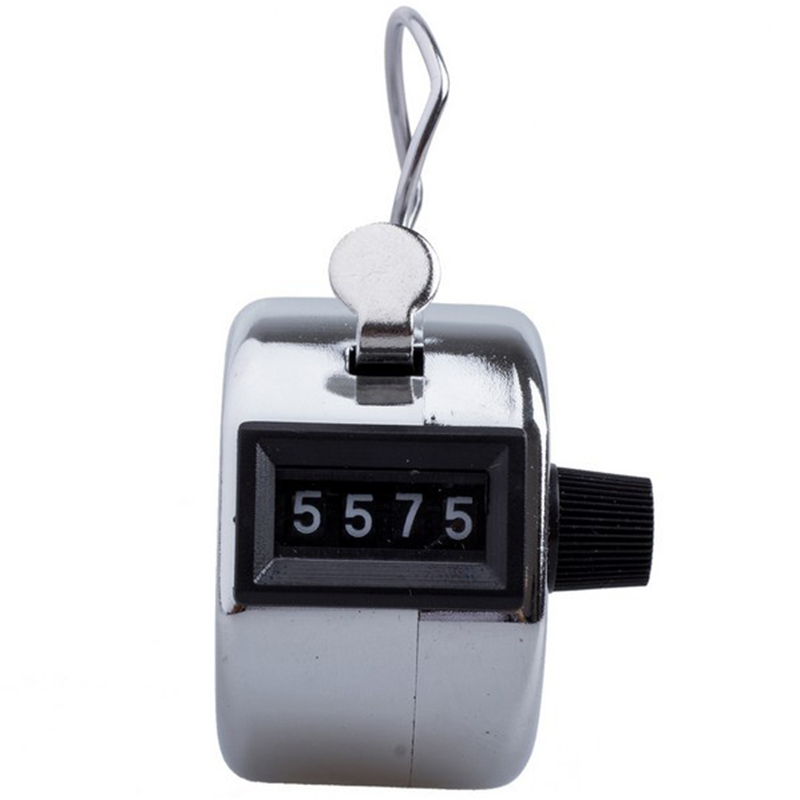Mechanical Metal Hand Held Click Tally Counter With 4 Digits 0000-9999