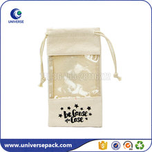 Phone Case Packing Drawstring Natural Small Canvas Pouch With Pvc Window