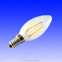 2W aluminum+glass E12/E14 led filament bulb candle light