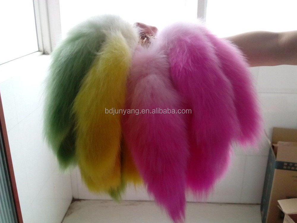 Natural color real fox fur tail bag charm for girls fox plush keychain