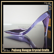 2017 popular wholesale crystal glass purple shoe model
