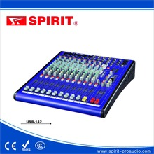 OEM analog audio mixer 14 channel digital audio 12v mixer audio importer USB-142 with 6 MIC 4 stereo INPUT stereo