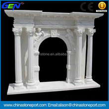 Beautiful White Natural Marble Stone Fireplace