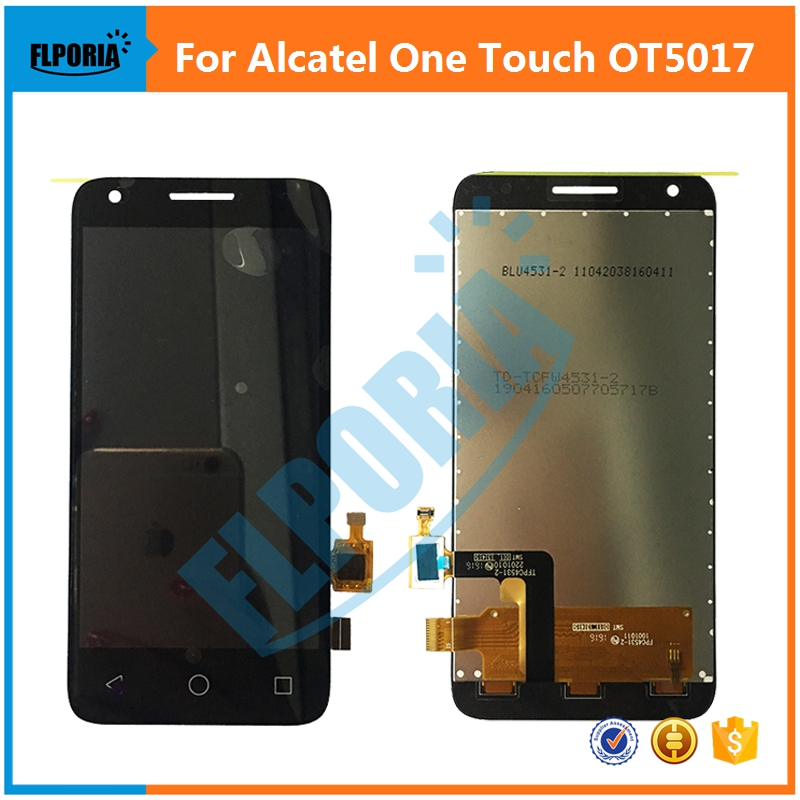 Original For Alcatel One Touch OT5017 5017 5017E 5017A 5017B LCD Display With Touch Screen Digitizer Assembly Replacement Black