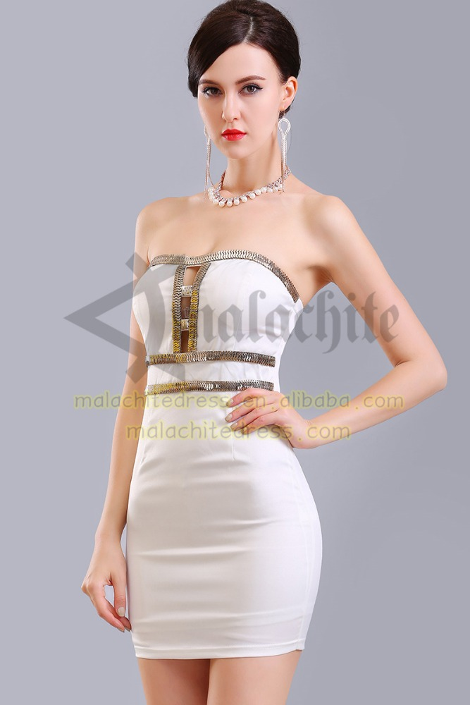 Strapless High-End Sexy Beaded Short Cocktail Dress for Cocktail, Party and Prom