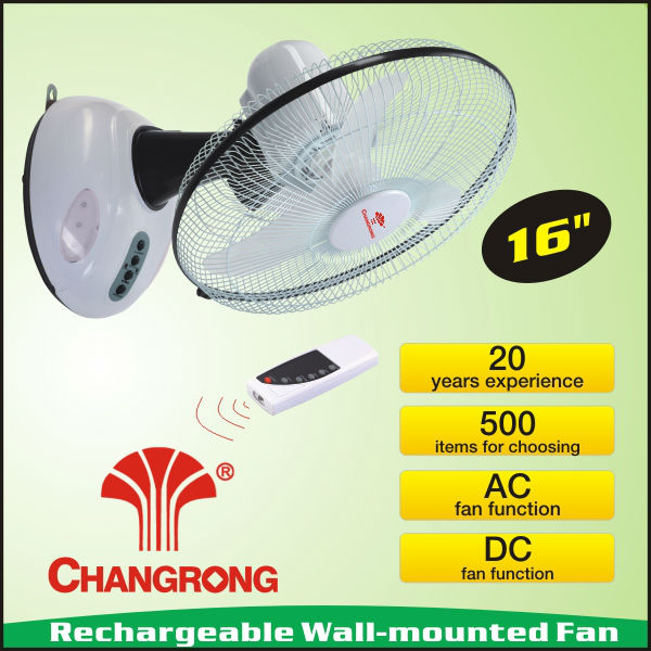 "16"" rechargeable oscillating wall mount outdoor fan with light remote"