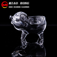 Pig piggy crystal tealight glass candle holder