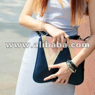 Light Pink x Blue Chic Clutch Bag Envelope Bag Shoulder Bag Handbag, PU Leather