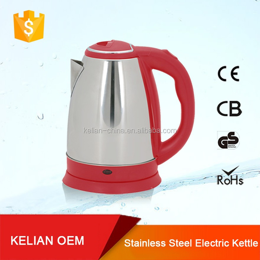 Plastic Red Lid /Handle Electric Kettle