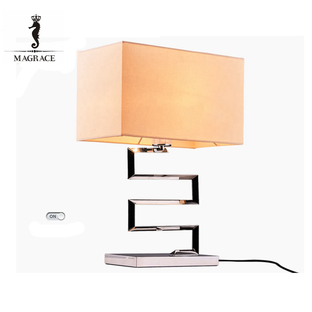 Alibaba china modern square lampshade chromeplated iron hotel table lamp