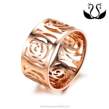 New hot selling fashion rose gold plated lady Camellia rings