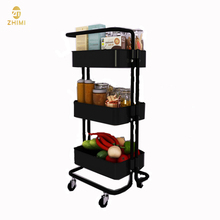 Home Storage Carbon Steel Trolley 3-Tier Kitchen Trolley Cart Rack <strong>Shelf</strong> for Dinning Room