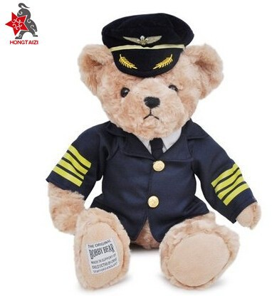 Captain pilot dress uniform teddy bear doll plush toy bear doll