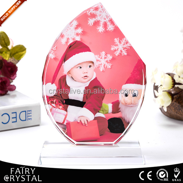 Customized christmas gift crystal photo frame