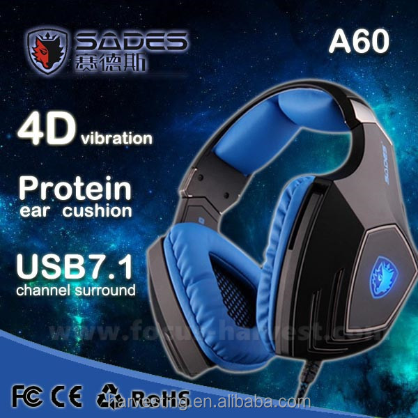 High Quality SADES A-60 Vibration Function and 7.1 Surround Sound Professional Gaming Headphones Games Headset for Razer Gamer