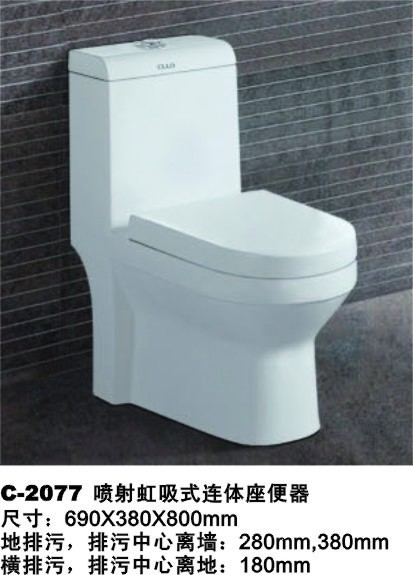 one piece siphon flushing toilet