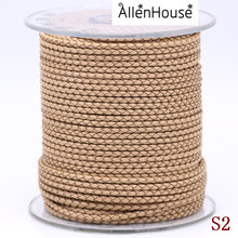 low MOQ 2.5 mm superly thin beige woven leather cord for jewelry making