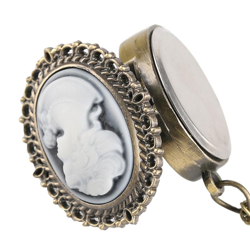 Vintage Elegant Pretty Beautiful Women Pattern Small Mini Quartz Pocket Watch for Lady Girl Neckalce Pendant Female Clock P62 (4)