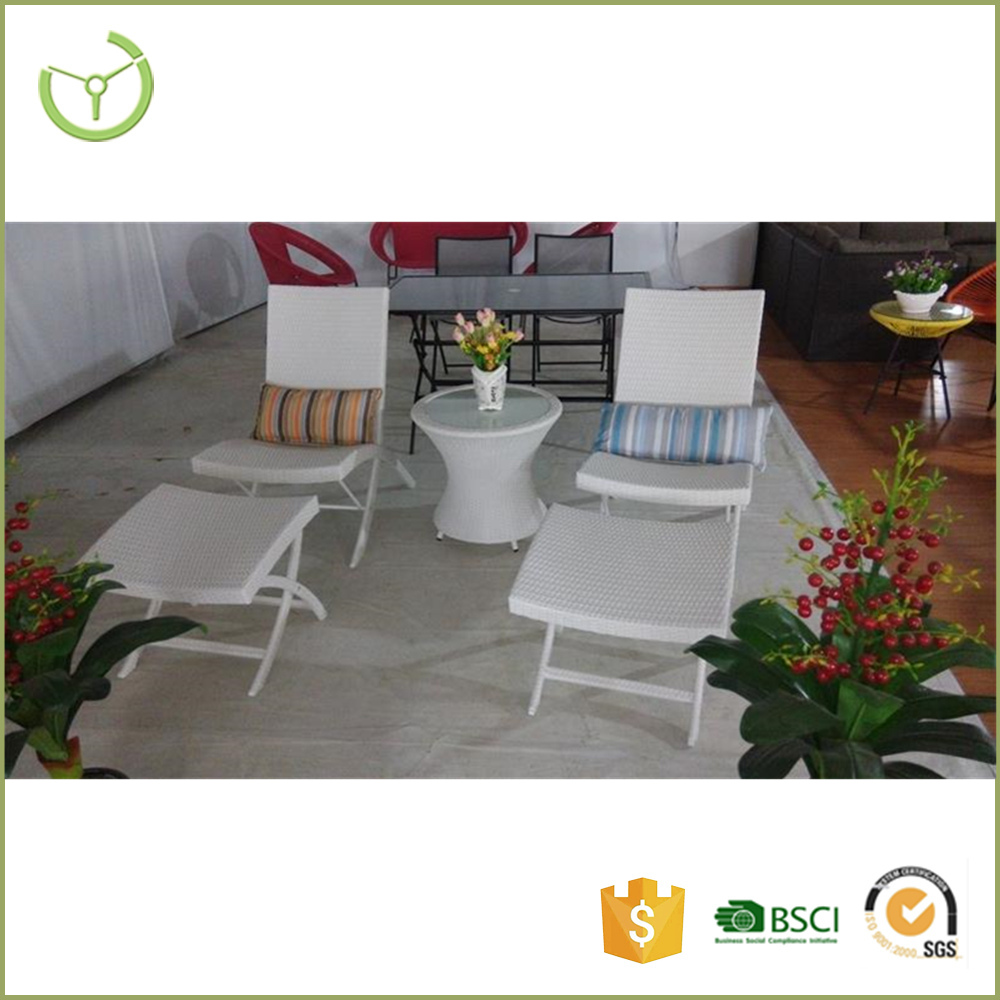Patio 5pcs wicker bistro set outdoor furniture with 2 stools 2 lounger chairs one tea table rattan lounger chair bistro set