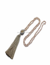 Necklace women 2017 long chain crystal colorful beads necklace with tassel