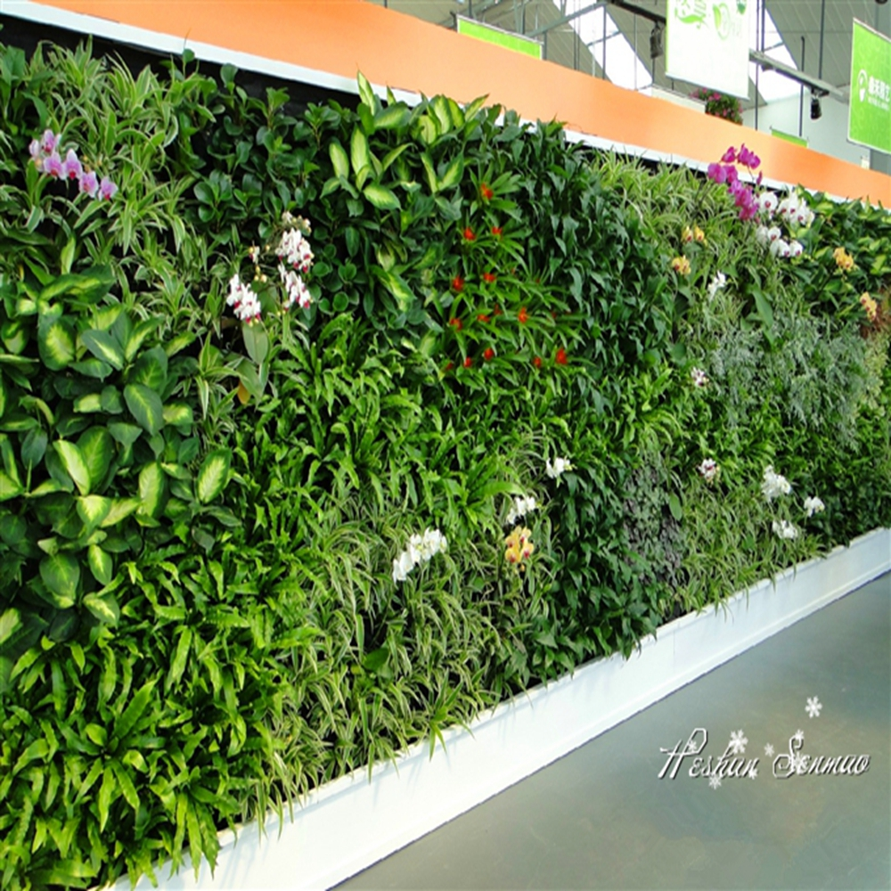Customized artificial green walls plastic artificial for Artificial plants for interior decoration