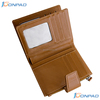 Leather credit card wallet with electromagnetic shielding material for card slot