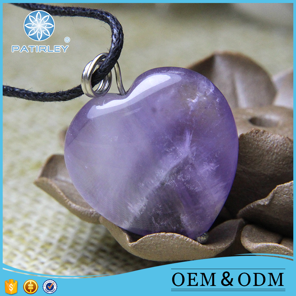 Pretty heart shape gemstone pendant amethyst for jewelry making