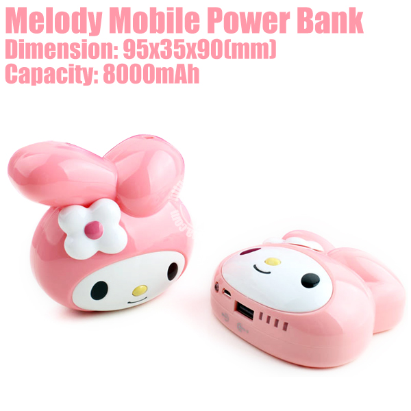Rabbit8000 Cute Rabbit Power Bank External Battery 8000mAh for iphones Mp3 Mp4 PSP Made in China