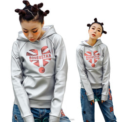 17 latest fashion silver hoodie pullover with big sequins heart