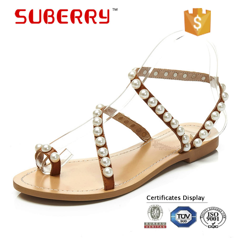 SUBERRY shoes woman 2017 size 33-43 handmade sweet pearl leather slip on Bohemia flat sandals tongs sandales femmes