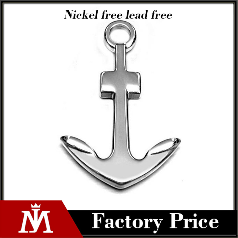 High Polished Smooth Stainless Steel Anchor Hawaiian Fish Hook Pendant