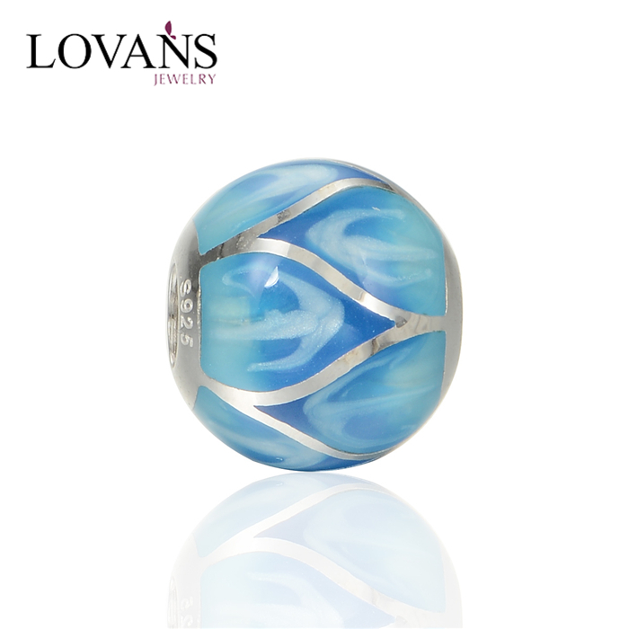 2015 New Attractive Luminous China Lucky Beads Jewelry Blue Enamel DIY Bead AMLD001B
